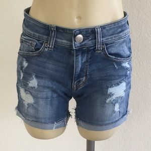American Eagle Midi Rise Destroyed Shorts sz 2!